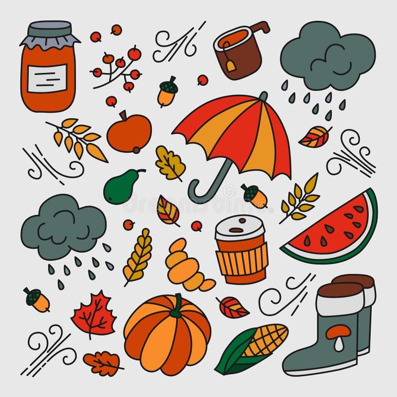 Otoño y lluvia Sistema de elementos en estilo del garabato y de la historieta color stock de ilustración