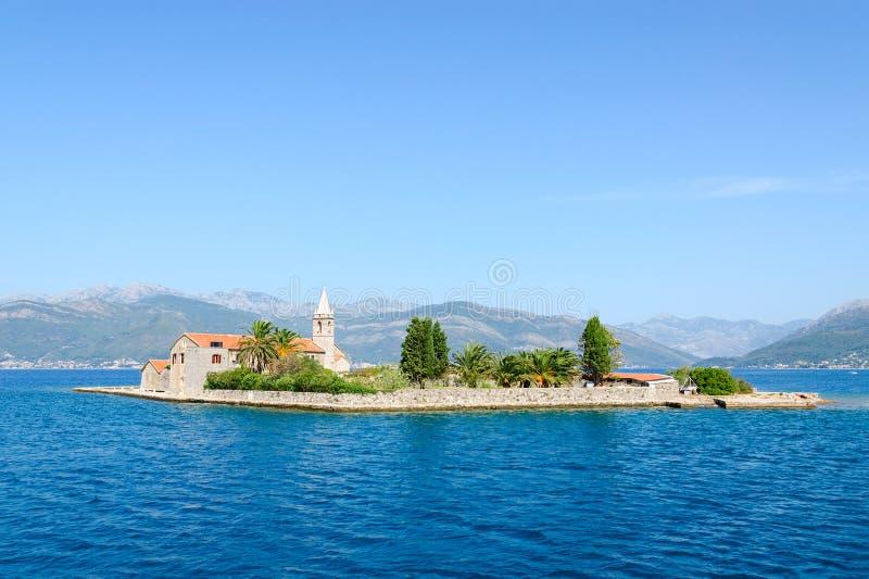 Otok海岛(Gospa od芦粟),蒂瓦特海湾,黑山 库存照片
