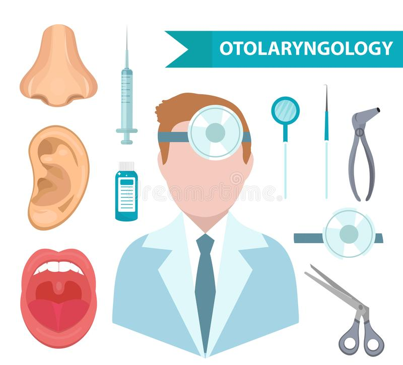 .Otolaryngology icon set, flat style. Doctor treating ear, throat, nose. ENT collection of design elements, isolated on. Otolaryngology icon set, flat style vector illustration