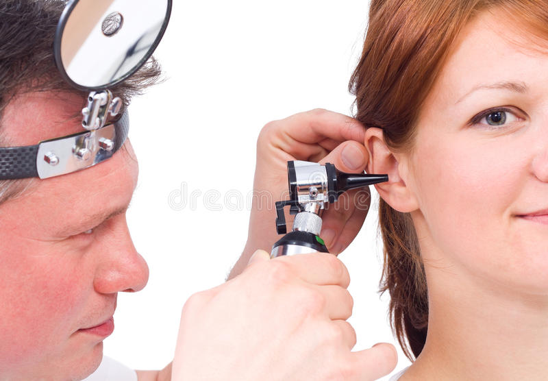 Otolaryngologycal Prüfung stockbild