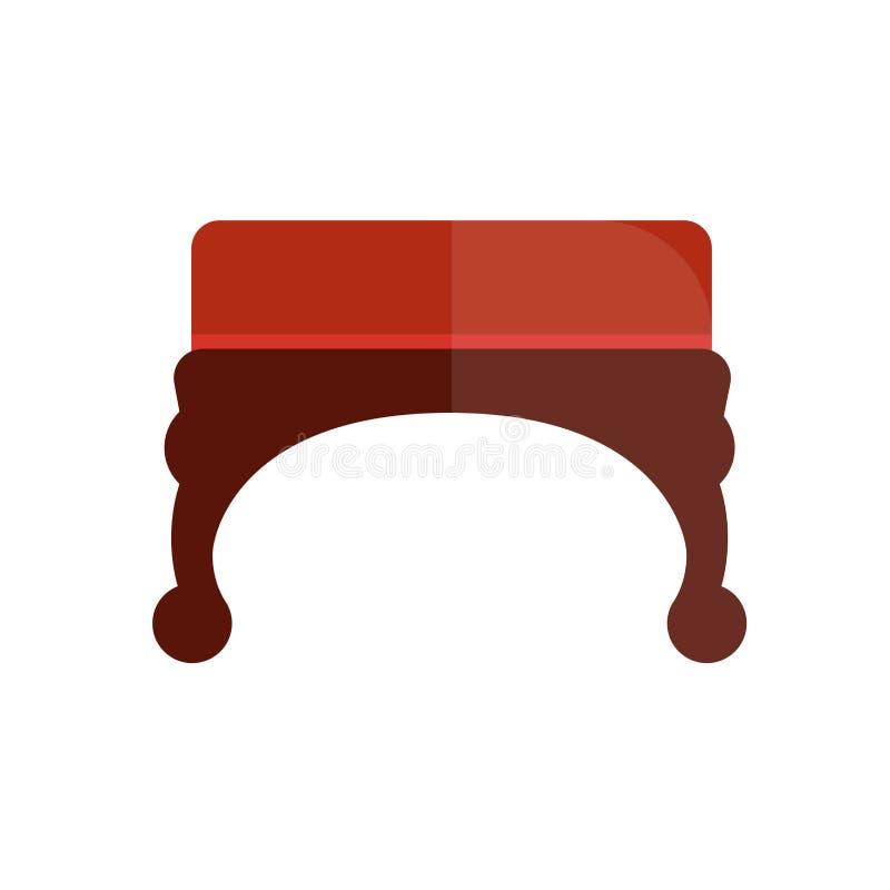 Otomano vermelho do vintage com ilustração curvada de madeira dos pés ilustração stock