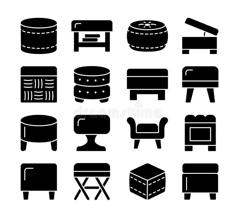 Otomanos y taburetes Taburetes y sillas del acento Diferentes tipos de c stock de ilustración