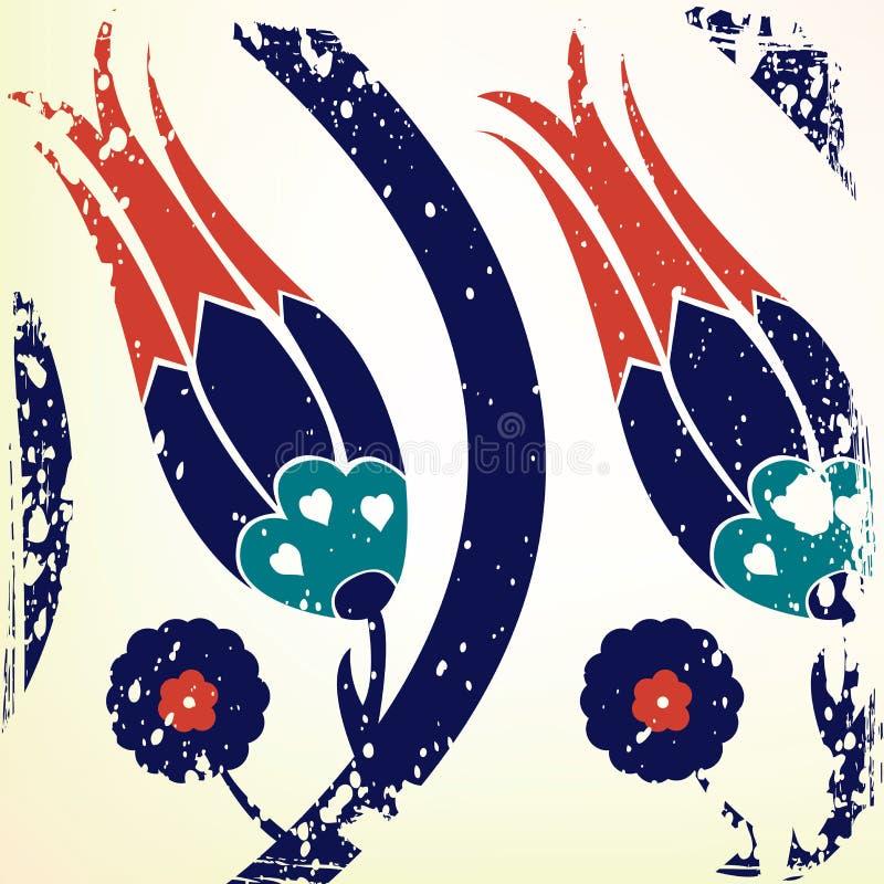 Otomanu stylowy tulipanowy tło royalty ilustracja