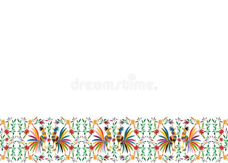 Otomi Style, Frame Ethnic Mexican haftowane kwiatowo i koguty, zwierzęta dżunglowe wykonane ręcznie Dekoracje folkowe do druku na zdjęcie stock