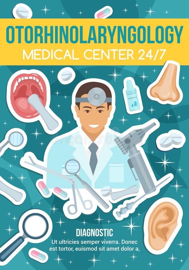 Otorhinolaryngology clinic and doctor, vector. Otorhinolaryngology medical center, diagnostic department. Doctor in robe and equipment, mouth and nose, ear and vector illustration
