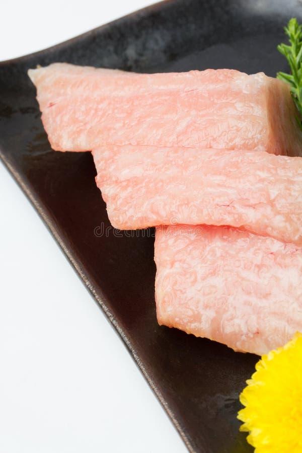 Otoro sashimi with decorate at restaurant stock image