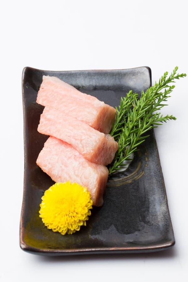 Otoro sashimi with decorate at restaurant stock photography