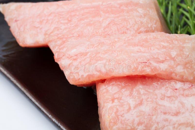 Otoro sashimi with decorate at restaurant royalty free stock photos