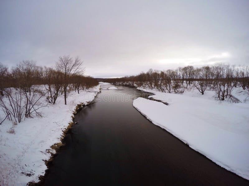 从Otowa桥梁,冬天的钏路沼泽地 库存照片