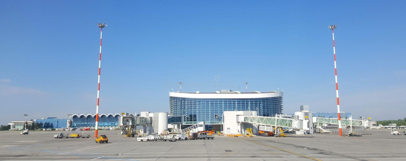 OTP亨利Coanda机场,奥托佩尼,布加勒斯特,罗马尼亚 免版税图库摄影