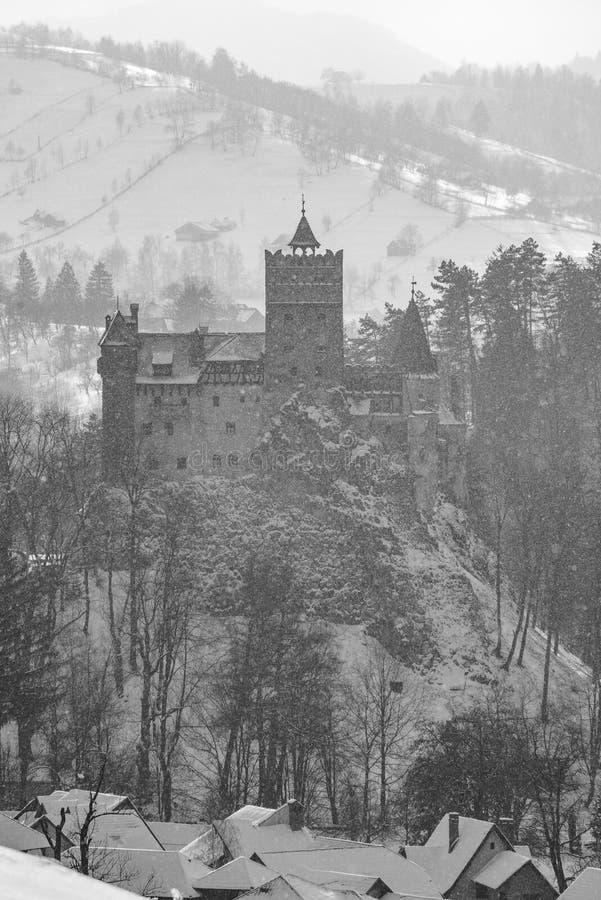 Otręby kasztel w Rumunia, Dracula kasztel, zima w Transylvania fotografia stock