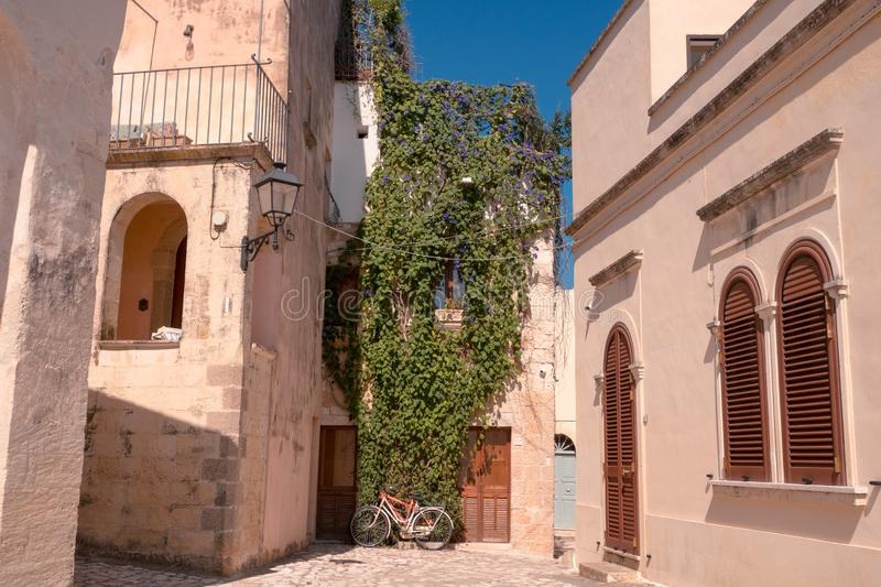 Otranto, Italy 15 August 2019: an iconic downtown alley in Otranto stock photography