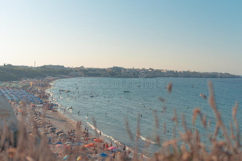 Otranto, Italy 15 August 2019: Some people spending their free time in one of the most nice beach in Salento. Some people spending their free time in one of the stock image