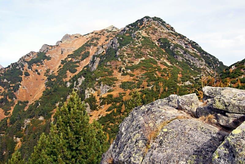 Otrhance mountain range in autumn Zapadne Tatry mountains. Otrhance mountain range from Nizna Magura mountain peak above Rackova dolina valley near Pribylina in stock photography