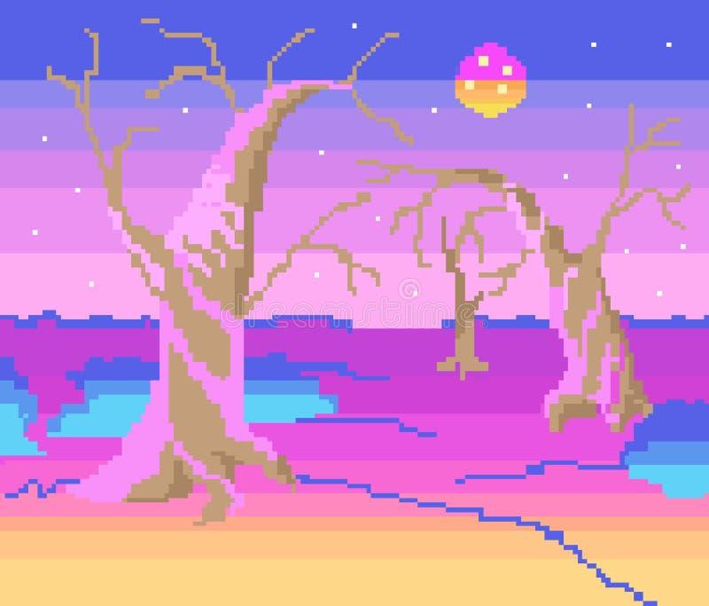 Otro planeta, arte del pixel ilustración del vector