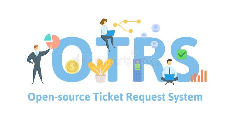 OTRS, système de demande de billet d'open-source Concept avec des personnes, des mots-clés et des icônes Illustration plate de ve illustration stock