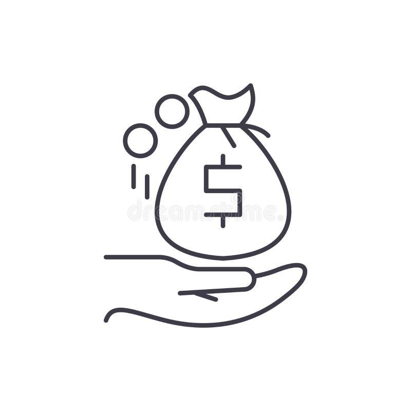 Otrzymywać pieniądze linii ikony pojęcie Otrzymywać pieniądze wektorową liniową ilustrację, symbol, znak ilustracji