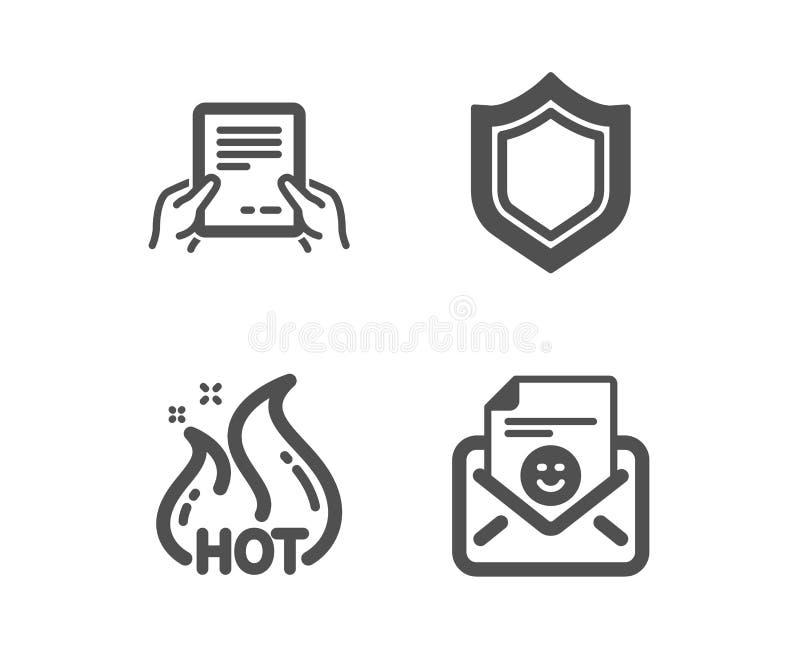 Otrzymywa kartotekę, Gorącą sprzedaż i ochron ikony, U?miechu znak Trzyma dokument, Robi zakupy płomień, ochrony osłona wektor royalty ilustracja