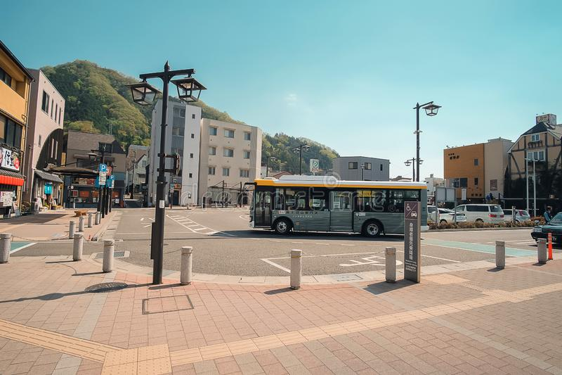 Otsuki railway Station near Kawaguchiko lake Yamanashi, Japan 9 April 2018 stock photo