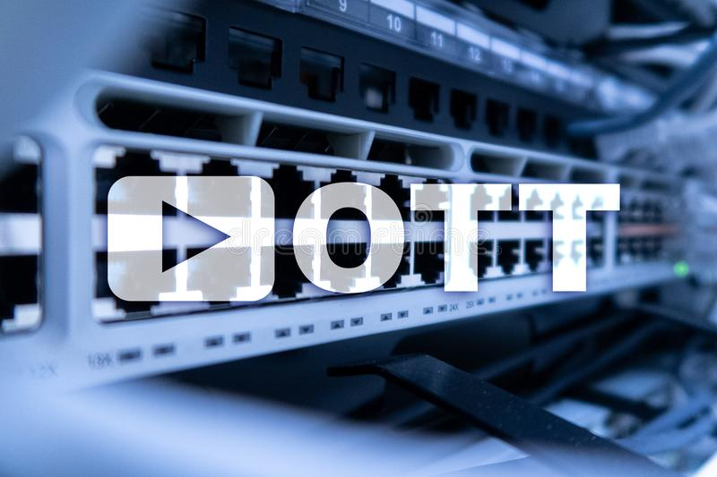 OTT, IPTV die, video over Internet stromen stock afbeelding