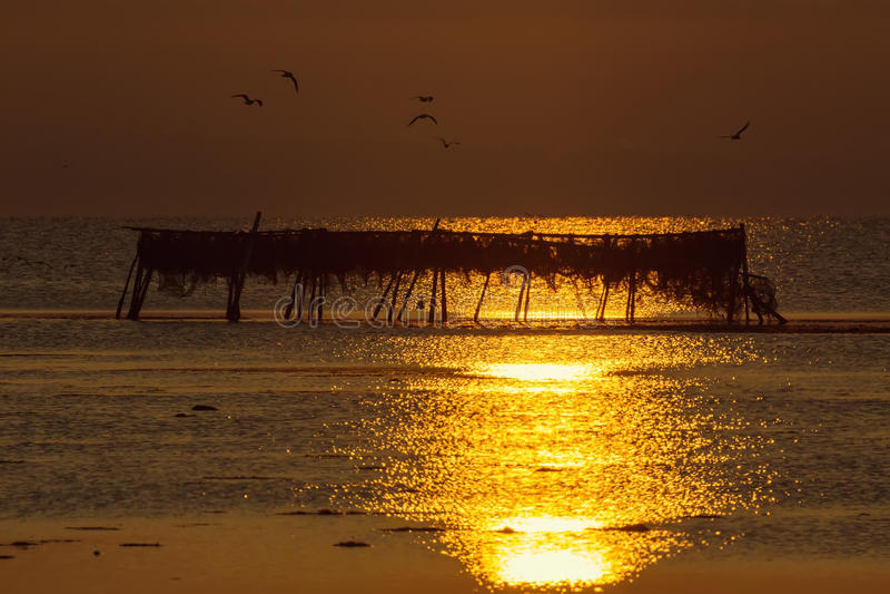 Otta magisk soluppgång över havet arkivbilder