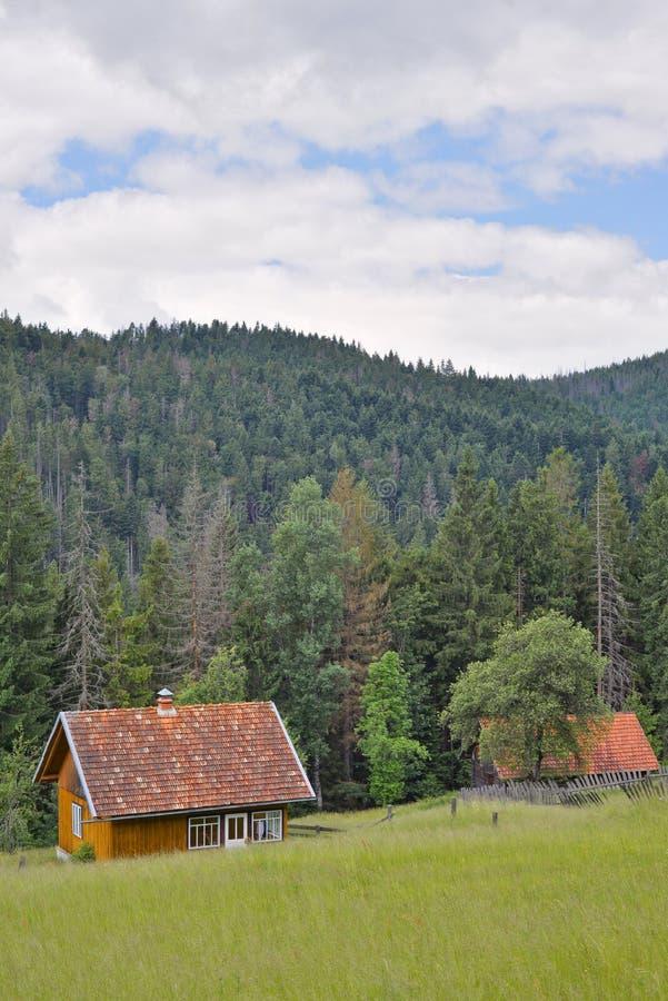 Ottage de ¡ de Ð et vieille grange en bois au bord du pré photo libre de droits