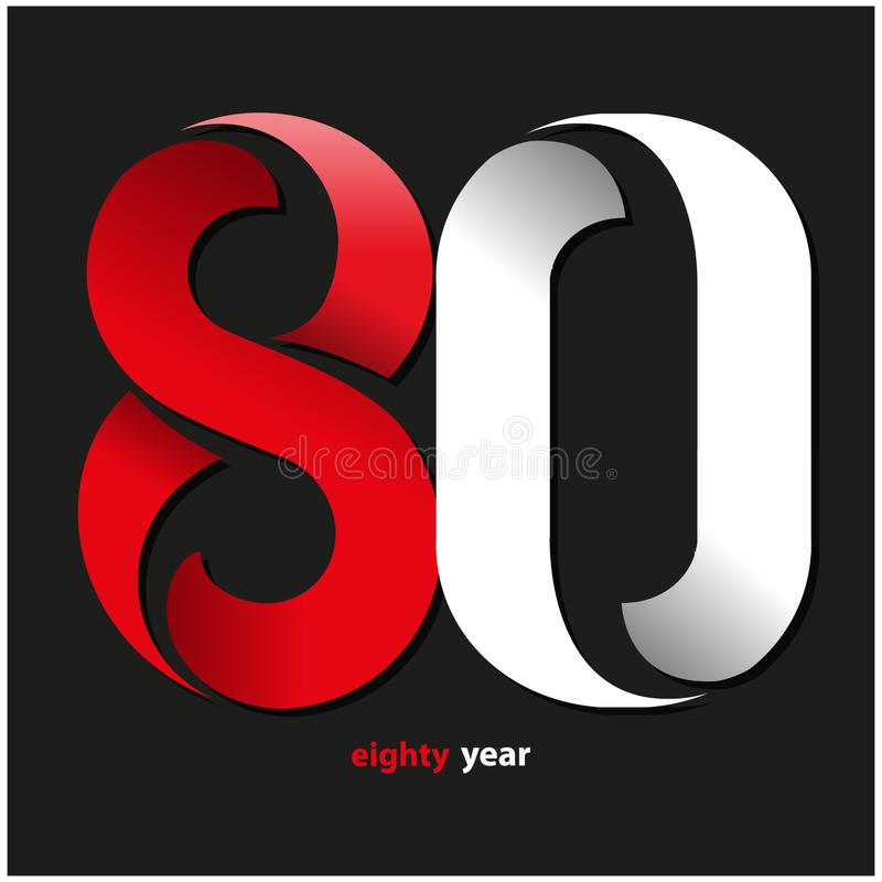 Ottanta anni di simbolo illustrazione vettoriale