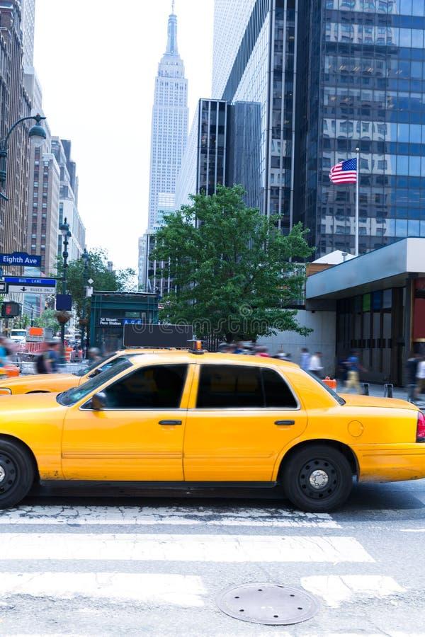 Ottavo avoirdupois taxi Stati Uniti di giallo di Manhattan New York immagini stock libere da diritti
