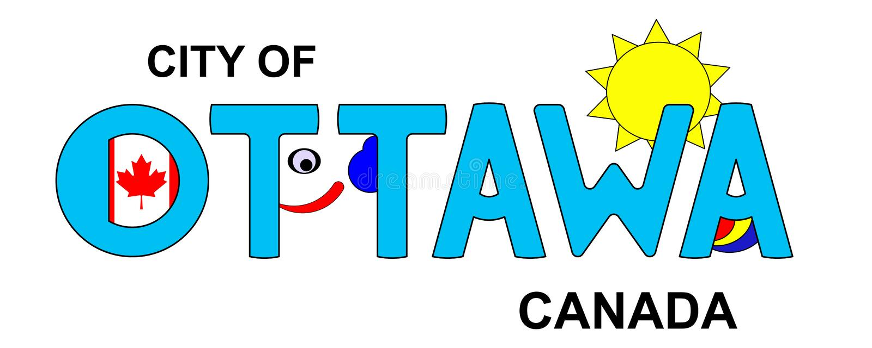 Ottawa - Canadá, inscrição abstrata no azul ilustração do vetor