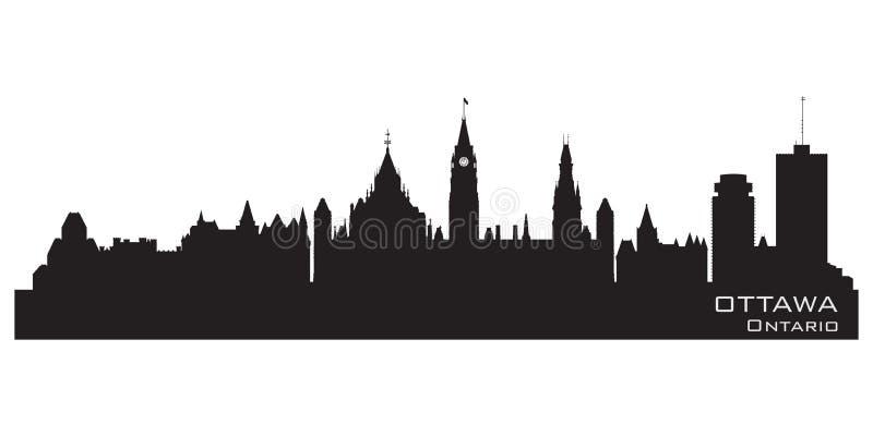 Ottawa, Canada city skyline. Detailed silhouette stock illustration