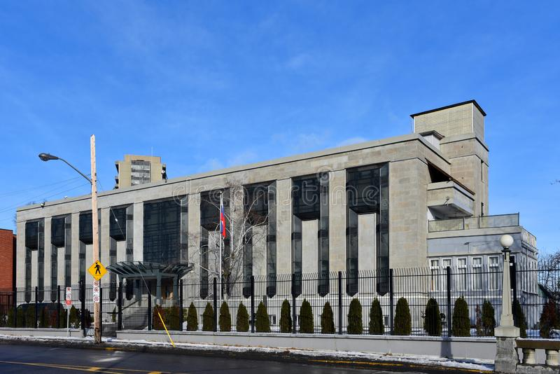 Russian Embassy in Ottawa. Ottawa, Canada - December 15, 2018: The Russian Embassy on Charlotte Street. The site was given to the Soviet Union in 1942. With the stock image