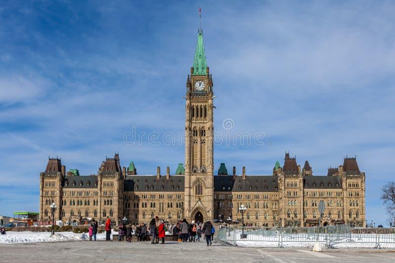 Ottawa CANADA - February 17, 2019: Federal Parliament Building of Canada in Ottawa, North America stock photography