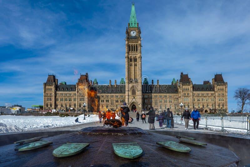 Ottawa CANADA - February 17, 2019: Federal Parliament Building of Canada in Ottawa, North America royalty free stock photos