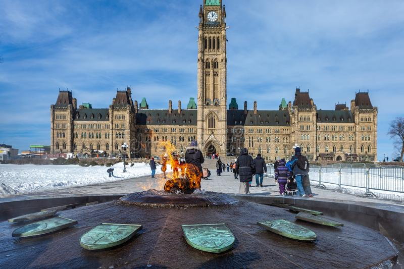 Ottawa CANADA - February 17, 2019: Federal Parliament Building of Canada in Ottawa, North America royalty free stock image