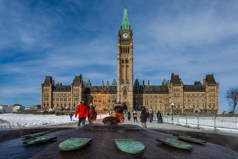 Ottawa CANADA - February 17, 2019: Federal Parliament Building of Canada in Ottawa, North America royalty free stock images