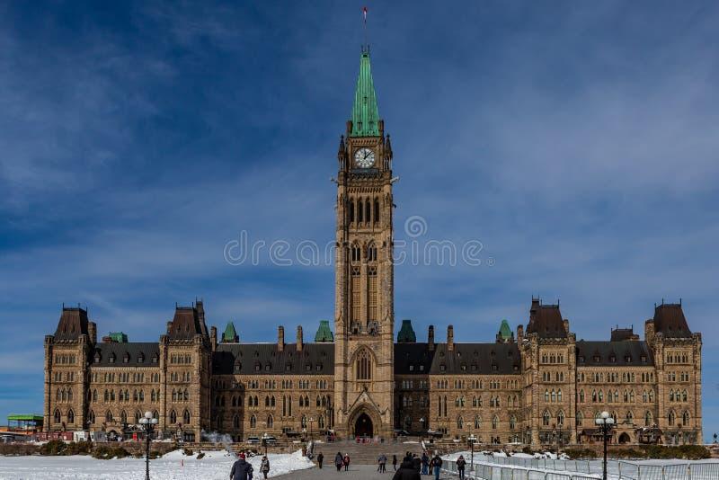 Ottawa CANADA - February 17, 2019: Federal Parliament Building of Canada in Ottawa, North America stock photo