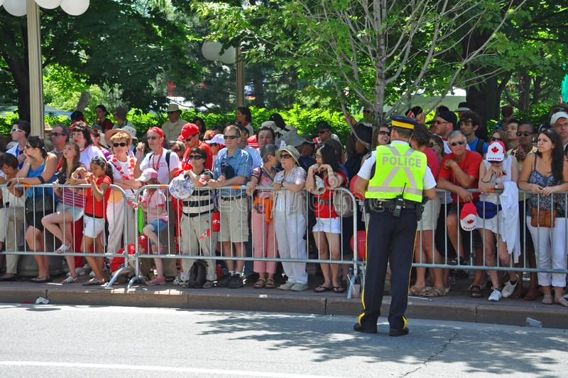 2011 Canada Day in Parliament Hill, Ottawa, Canada. OTTAWA, CANADA - JULY 1, 2011: RCMP police on guard on Canada Day, Ottawa, Ontario, Canada stock images