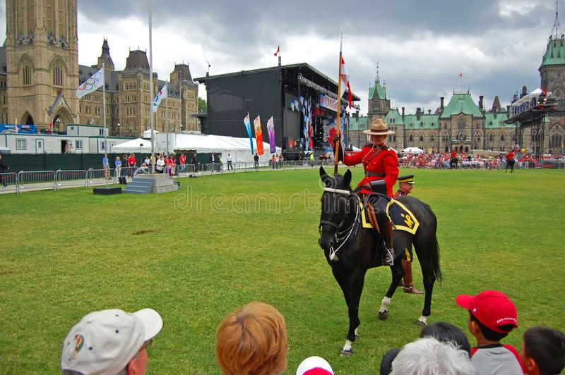 Canada Day RCMP riding horses in Ottawa, Canada stock image