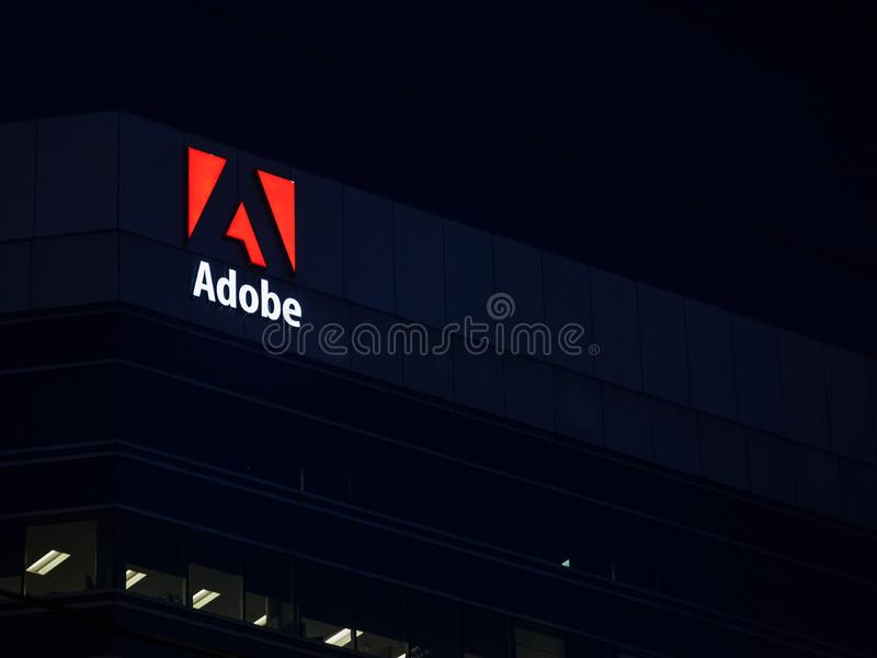 Adobe logo, in front of one of their main office for Ottawa, Ontario royalty free stock photography