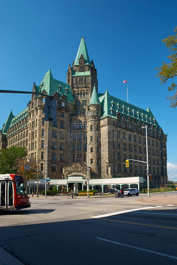 Ottawa, Canada September 18, 2018: The historic Confederation Building, resembling a castle, stands in downtown Ottawa royalty free stock image