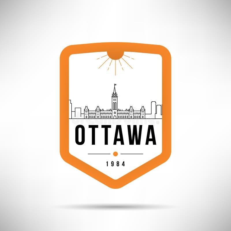 Ottawa City Modern Skyline Vector Template royalty free illustration