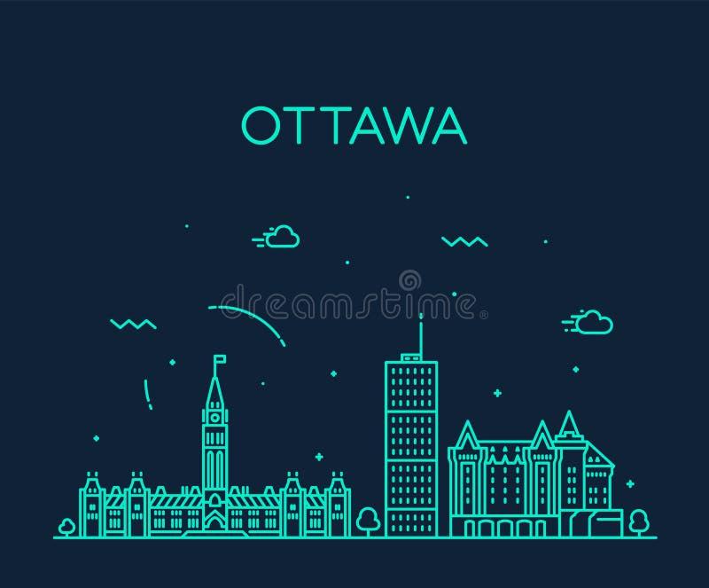 Ottawa city skyline Ontario Canada vector linear royalty free illustration