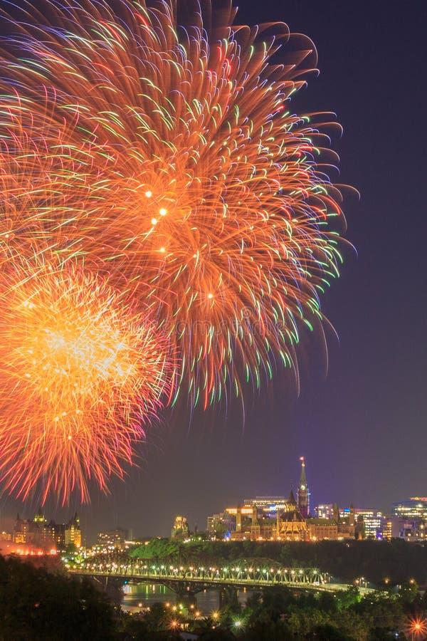 Ottawa Kanada dnia fajerwerki fotografia royalty free