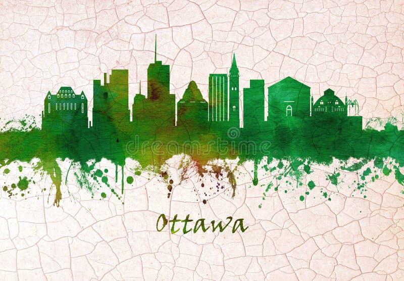 Ottawa Kanada horisont royaltyfri illustrationer