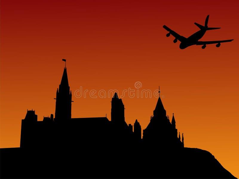 Ottawa latać nad samolotem ilustracji