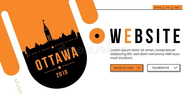 Ottawa Modern Web Banner Design with Vector Linear Skyline royalty free illustration