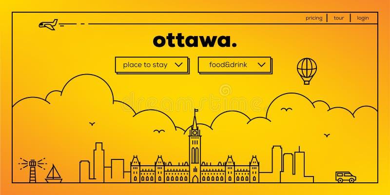 Ottawa Modern Web Banner Design with Vector Linear Skyline vector illustration