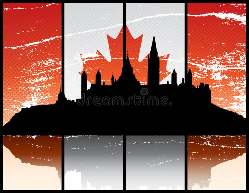 Ottawa Ontario. A grunge silhouette illustration of Parliament Hill in Ottawa Ontario royalty free illustration