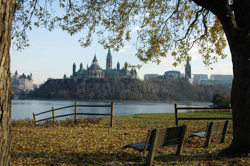 Ottawa Ontario. Ottawa including parliament buildings from the Quebec side in late fall royalty free stock images