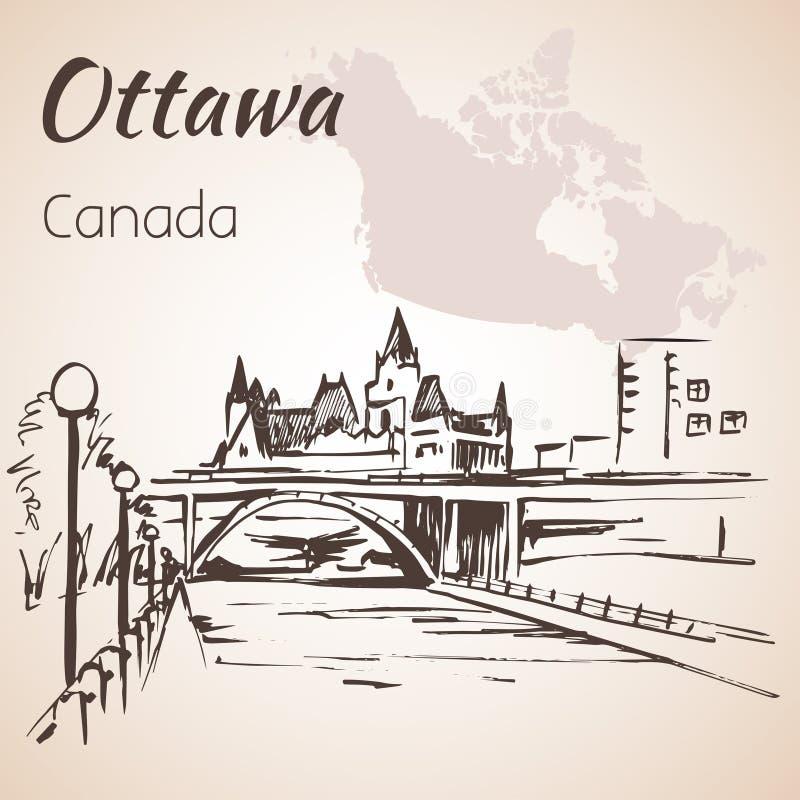 Ottawa Rideau Canal courtesy. Ottawa and map. Ottawa Rideau Canal courtesy.Ottawa and map. on white background royalty free illustration